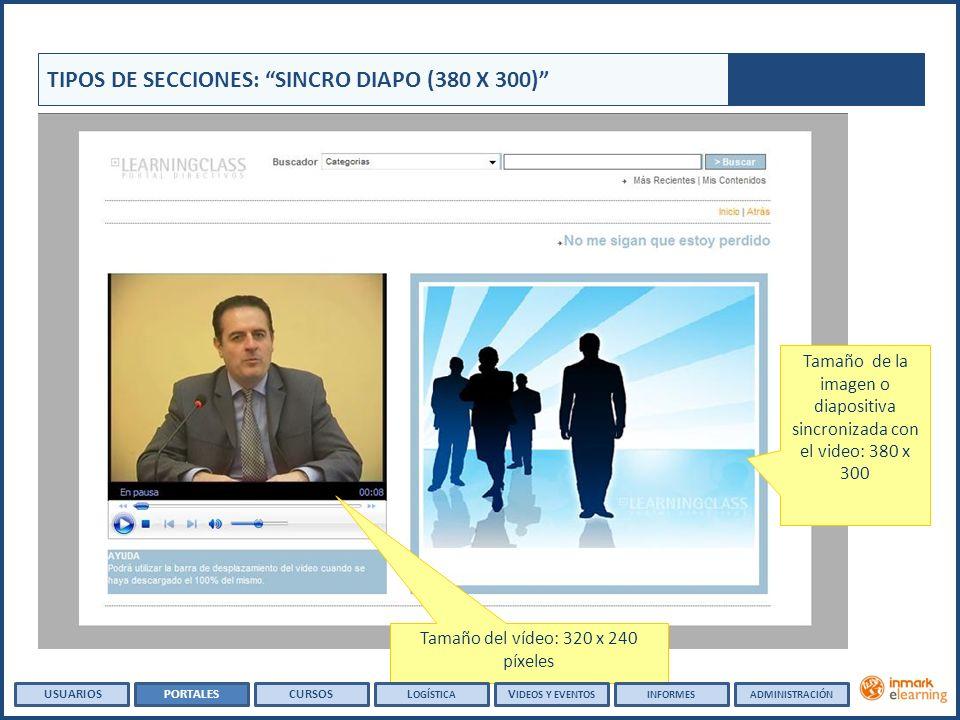 Tamaño del vídeo: 320 x 240 píxeles Tamaño de la imagen o diapositiva sincronizada con el video: 380 x 300 TIPOS DE SECCIONES: SINCRO DIAPO (380 X 300) USUARIOSPORTALESCURSOSL OGÍSTICA V IDEOS Y EVENTOSINFORMESADMINISTRACIÓN