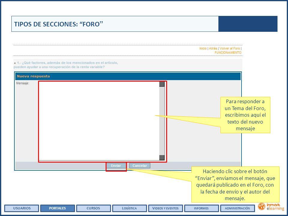 TIPOS DE SECCIONES: FORO Haciendo clic sobre el botón Enviar, enviamos el mensaje, que quedará publicado en el Foro, con la fecha de envío y el autor del mensaje.