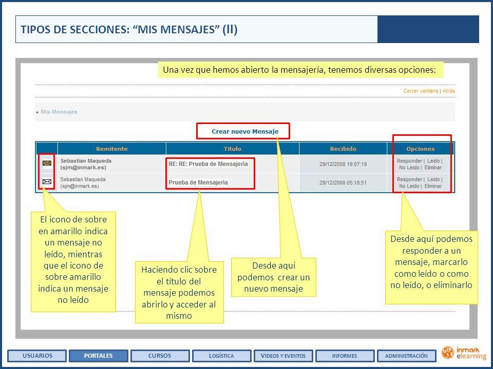Una vez que hemos abierto la mensajería, tenemos diversas opciones: TIPOS DE SECCIONES: MIS MENSAJES (II) Haciendo clic sobre el título del mensaje po
