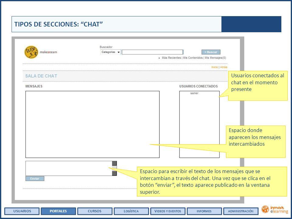 TIPOS DE SECCIONES: CHAT Espacio para escribir el texto de los mensajes que se intercambian a través del chat.