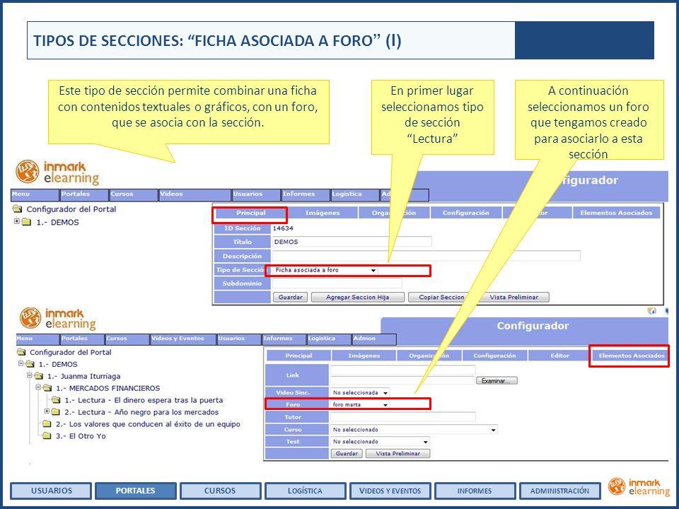 TIPOS DE SECCIONES: FICHA ASOCIADA A FORO (I) Este tipo de sección permite combinar una ficha con contenidos textuales o gráficos, con un foro, que se asocia con la sección.