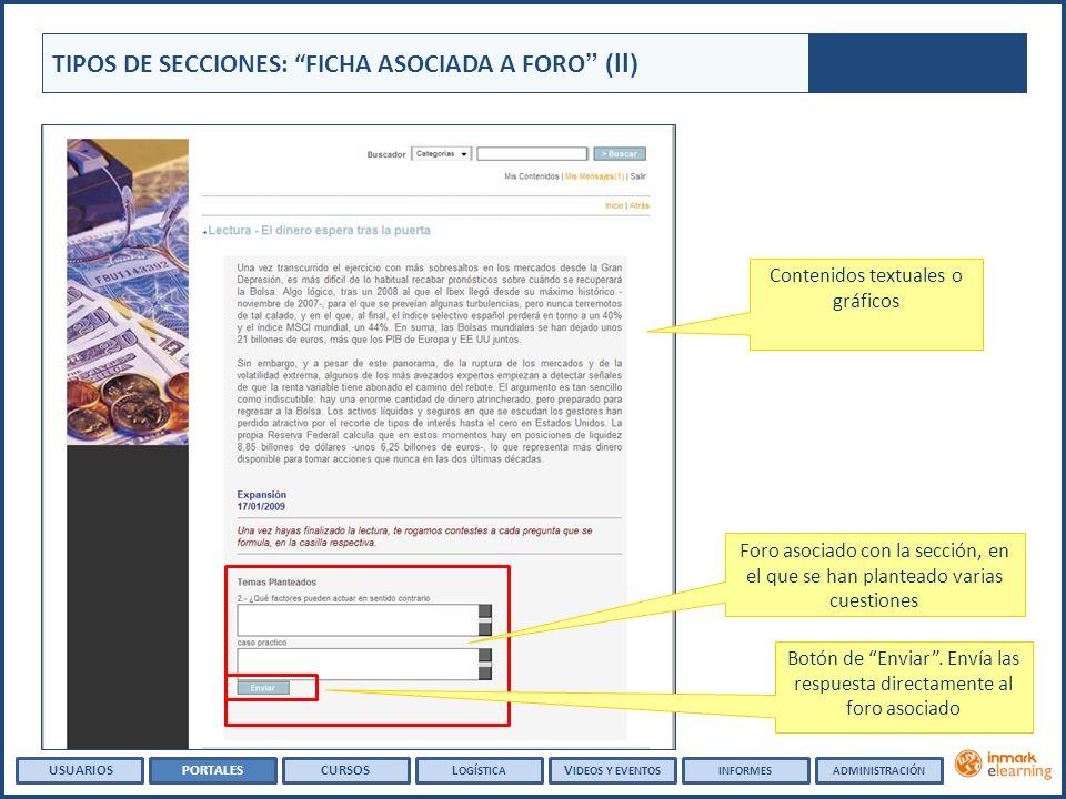 TIPOS DE SECCIONES: FICHA ASOCIADA A FORO (II) Contenidos textuales o gráficos Botón de Enviar. Envía las respuesta directamente al foro asociado Foro