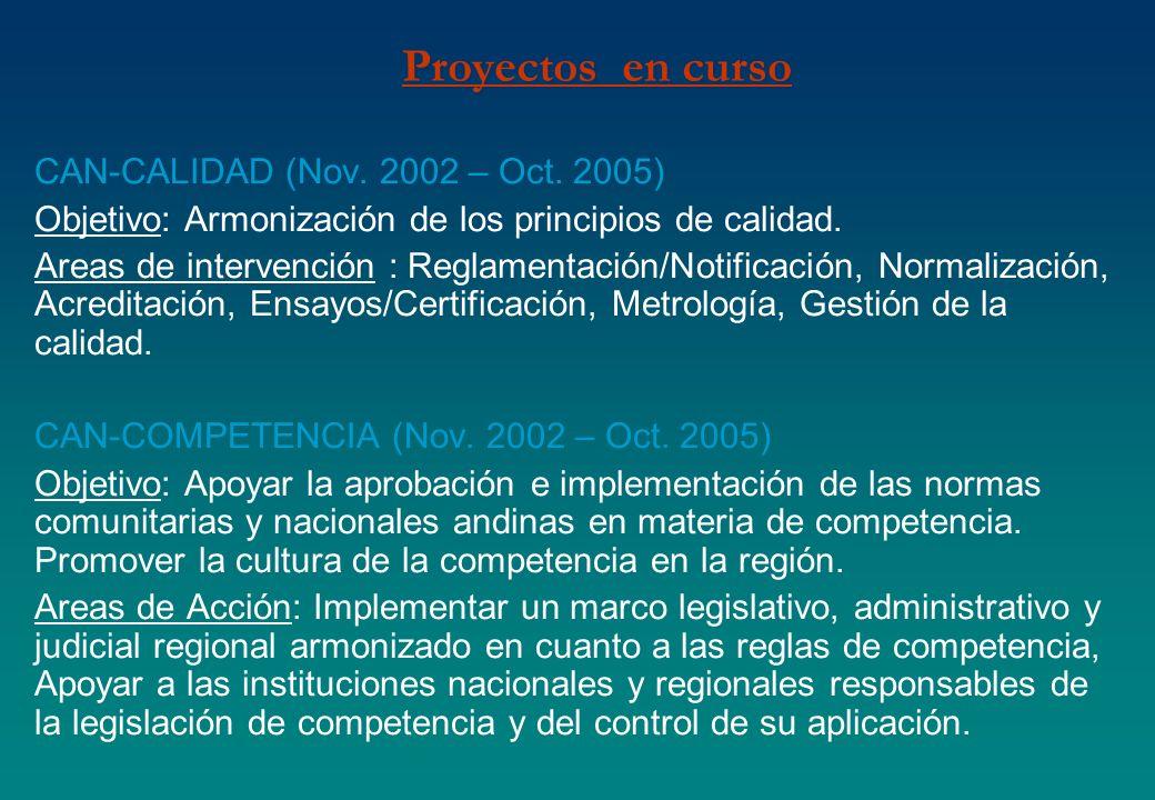 Proyectos en curso CAN-CALIDAD (Nov. 2002 – Oct. 2005) Objetivo: Armonización de los principios de calidad. Areas de intervención : Reglamentación/Not