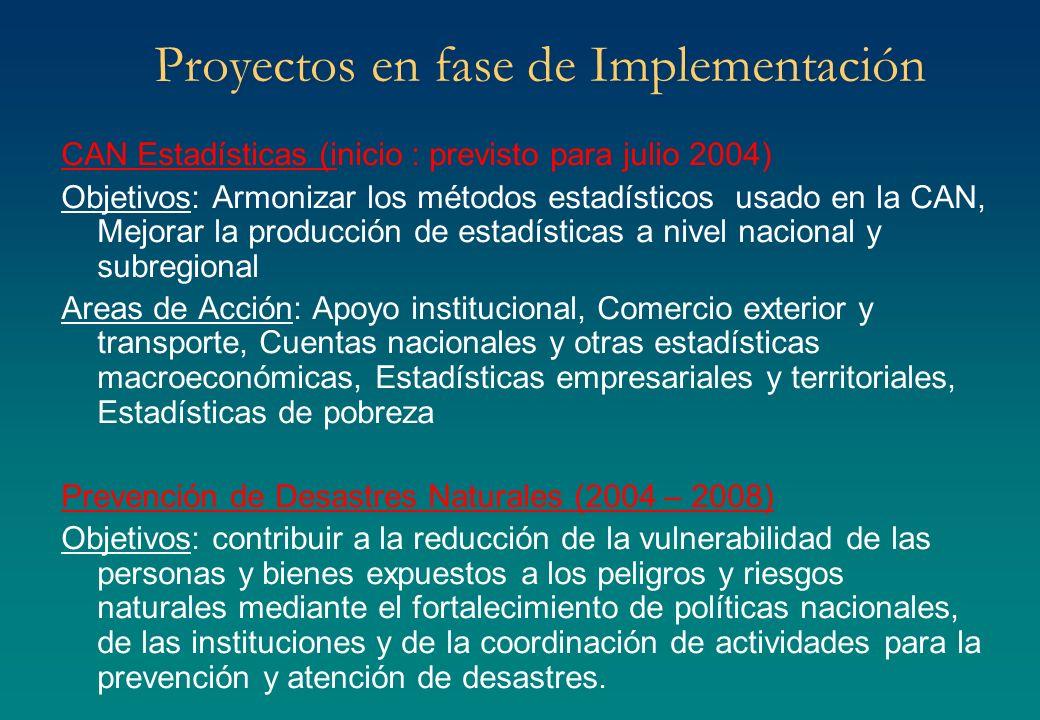 Proyectos en fase de Implementación CAN Estadísticas (inicio : previsto para julio 2004) Objetivos: Armonizar los métodos estadísticos usado en la CAN
