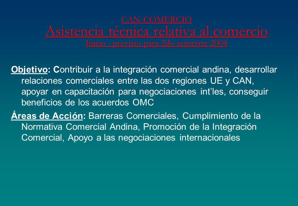 CAN-COMERCIO Asistencia técnica relativa al comercio Inicio : previsto para 2do semestre 2004 Objetivo: Contribuir a la integración comercial andina,