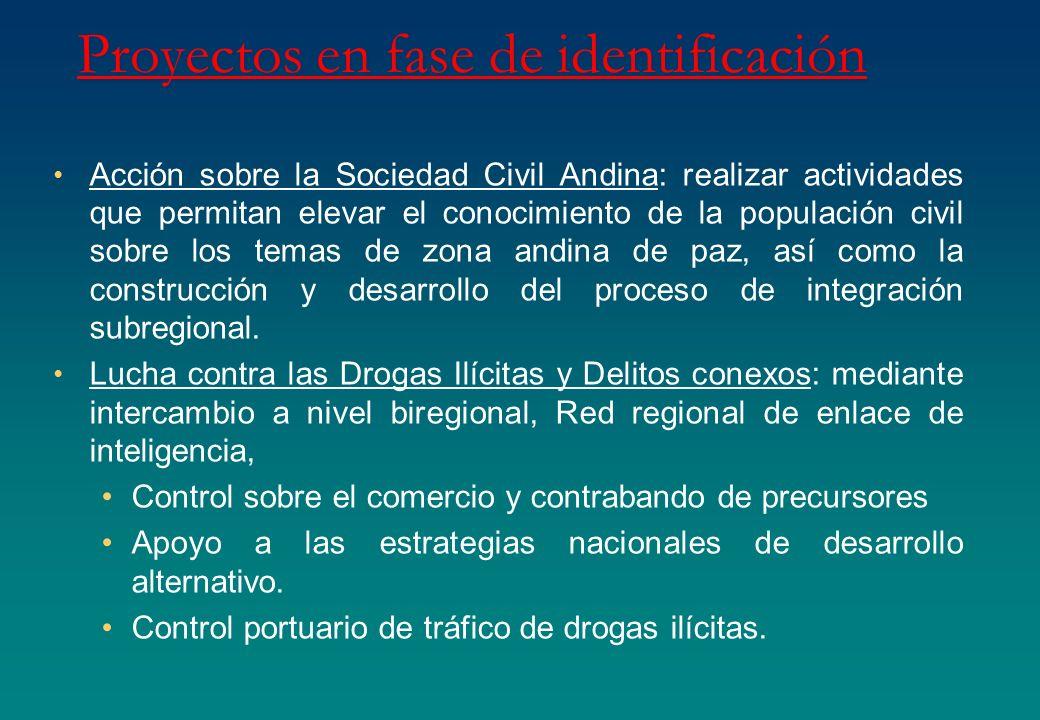 Proyectos en fase de identificación Acción sobre la Sociedad Civil Andina: realizar actividades que permitan elevar el conocimiento de la populación c