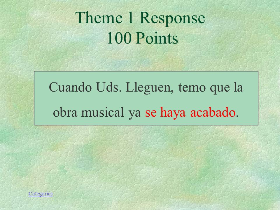 Categories Theme 5 Response 100 Points unless.