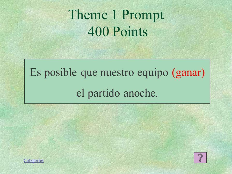 Categories Theme 1 Response 300 Points Espero que ustedes se hayan divertido el fin de semana.