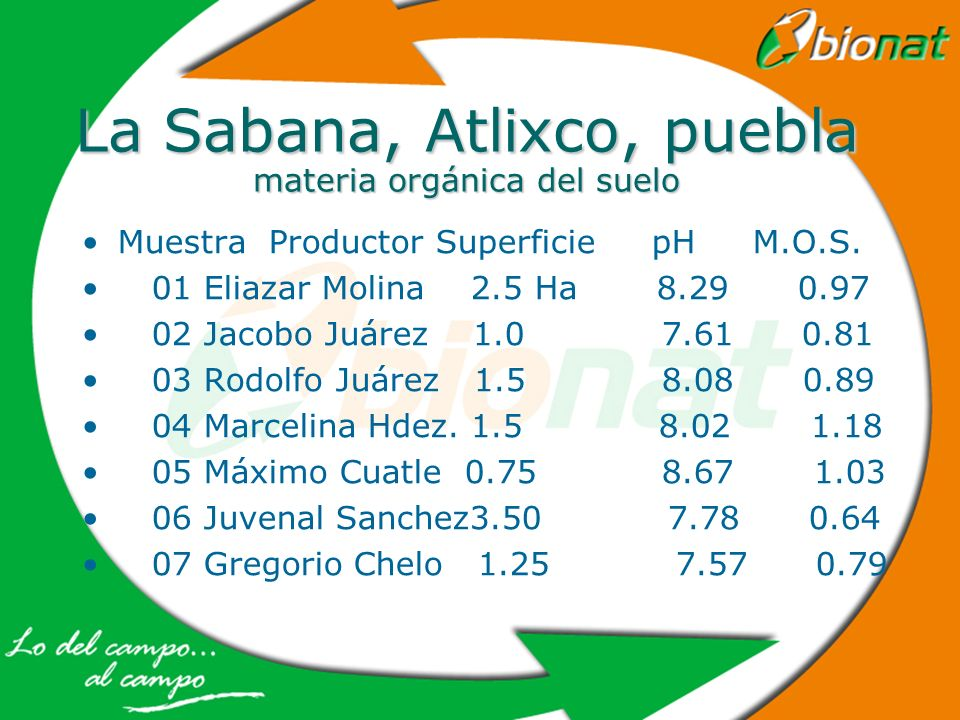 La Sabana, Atlixco, puebla materia orgánica del suelo Muestra Productor Superficie pH M.O.S. 01 Eliazar Molina 2.5 Ha 8.29 0.97 02 Jacobo Juárez 1.0 7