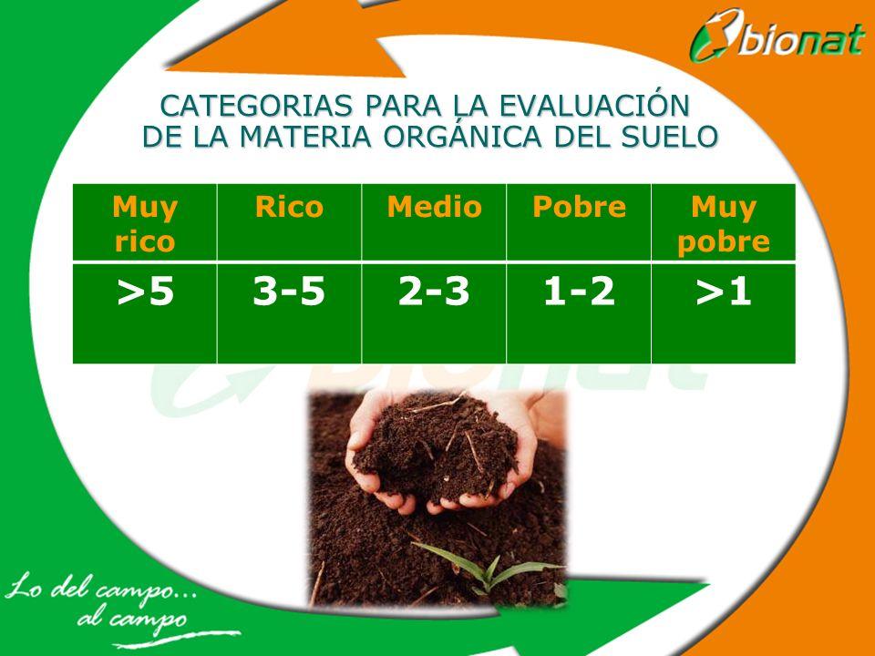 CATEGORIAS PARA LA EVALUACIÓN DE LA MATERIA ORGÁNICA DEL SUELO Muy rico RicoMedioPobreMuy pobre >53-52-31-2>1