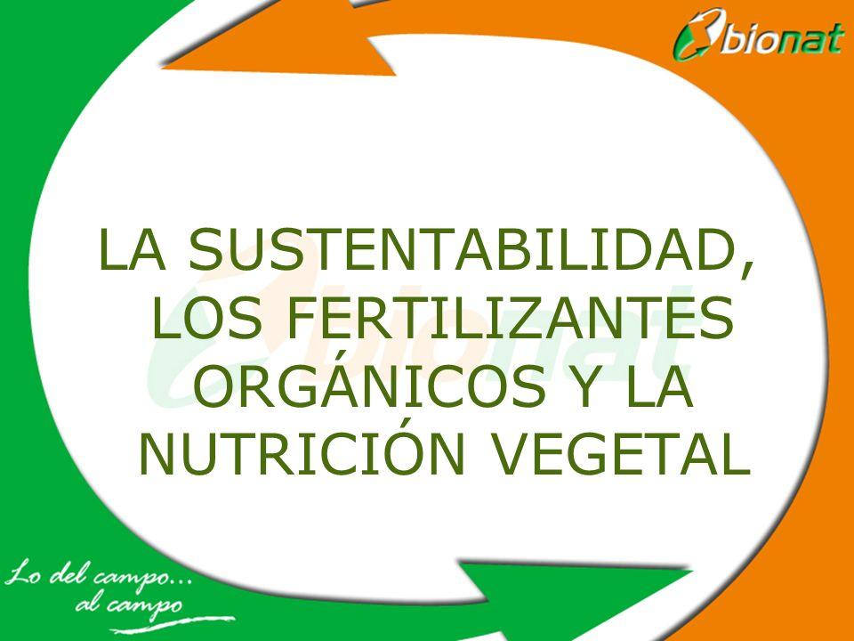 LA SUSTENTABILIDAD, LOS FERTILIZANTES ORGÁNICOS Y LA NUTRICIÓN VEGETAL