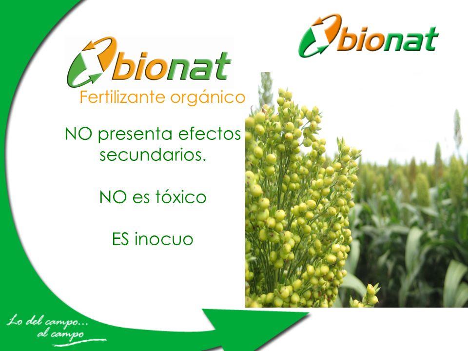 Fertilizante orgánico NO presenta efectos secundarios. NO es tóxico ES inocuo