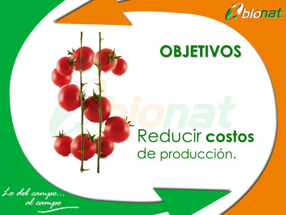OBJETIVOS Reducir costos de producción.