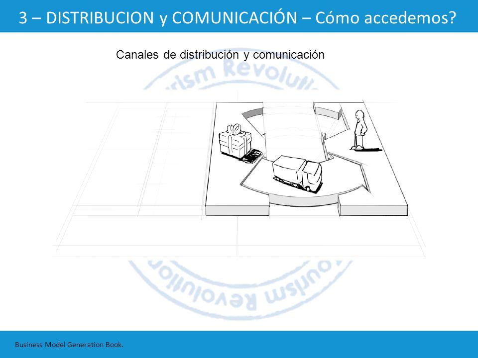 Canales de distribución y comunicación Business Model Generation Book. 3 – DISTRIBUCION y COMUNICACIÓN – Cómo accedemos?
