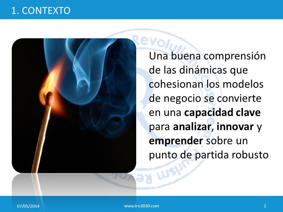 07/05/2014 www.tre2010.com2 1. CONTEXTO Una buena comprensión de las dinámicas que cohesionan los modelos de negocio se convierte en una capacidad cla