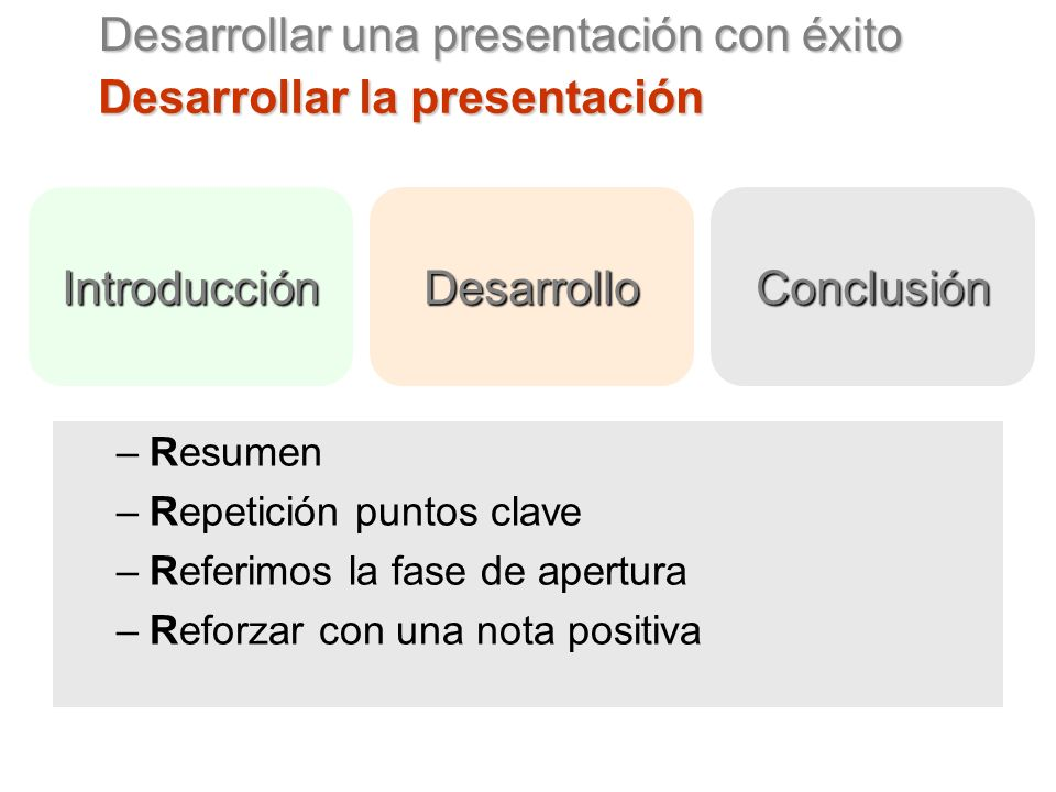 Desarrollar una presentación con éxito Desarrollar la presentación –Resumen –Repetición puntos clave –Referimos la fase de apertura –Reforzar con una nota positiva IntroducciónDesarrolloConclusión