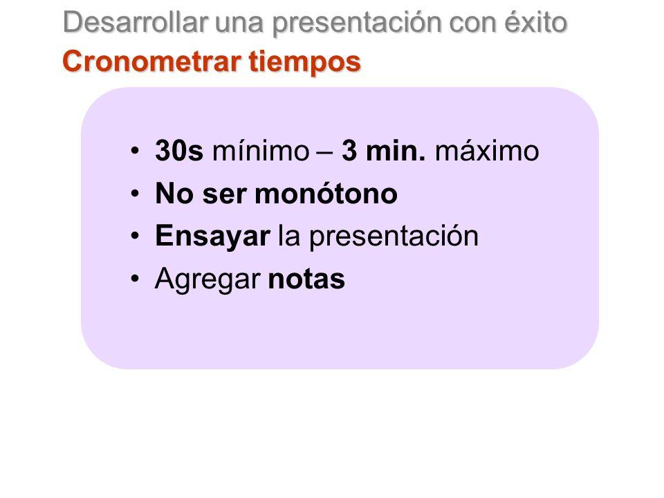 Desarrollar una presentación con éxito Cronometrar tiempos 30s mínimo – 3 min.