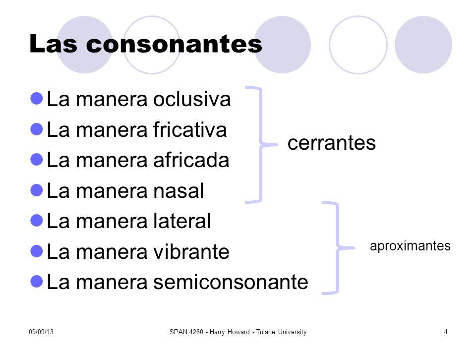 Las consonantes La manera oclusiva La manera fricativa La manera africada La manera nasal La manera lateral La manera vibrante La manera semiconsonant