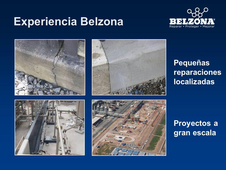 Experiencia Belzona Pequeñas reparaciones localizadas Proyectos a gran escala