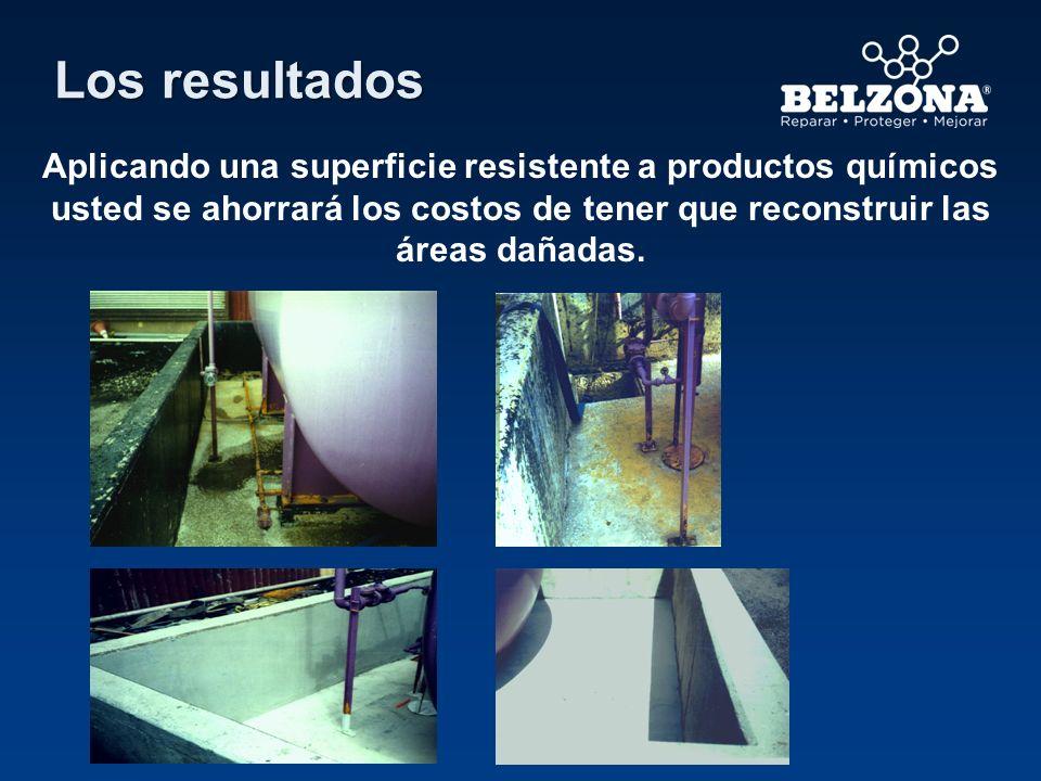 Los resultados Aplicando una superficie resistente a productos químicos usted se ahorrará los costos de tener que reconstruir las áreas dañadas.