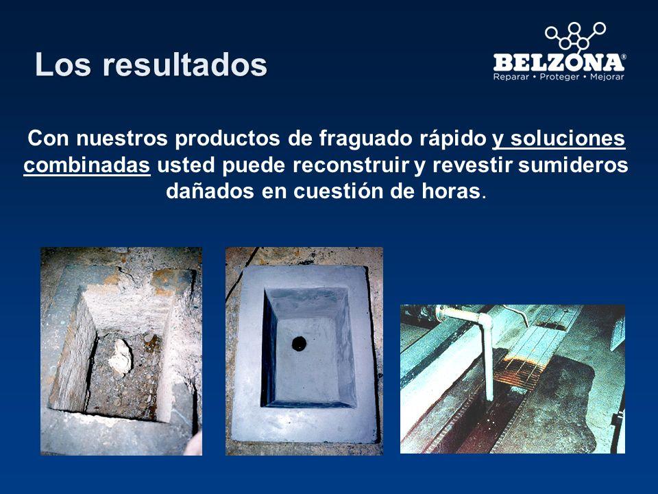 Los resultados Con nuestros productos de fraguado rápido y soluciones combinadas usted puede reconstruir y revestir sumideros dañados en cuestión de h