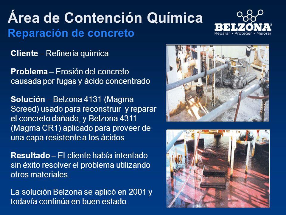 Cliente – Refinería química Problema – Erosión del concreto causada por fugas y ácido concentrado Solución – Belzona 4131 (Magma Screed) usado para re