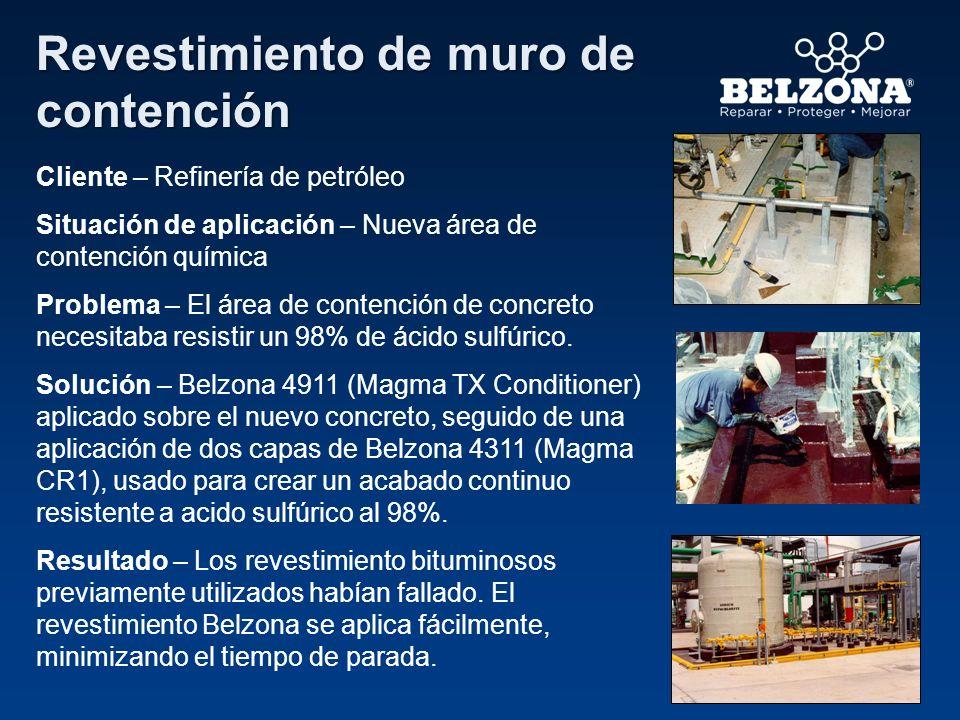 Cliente – Refinería de petróleo Situación de aplicación – Nueva área de contención química Problema – El área de contención de concreto necesitaba res