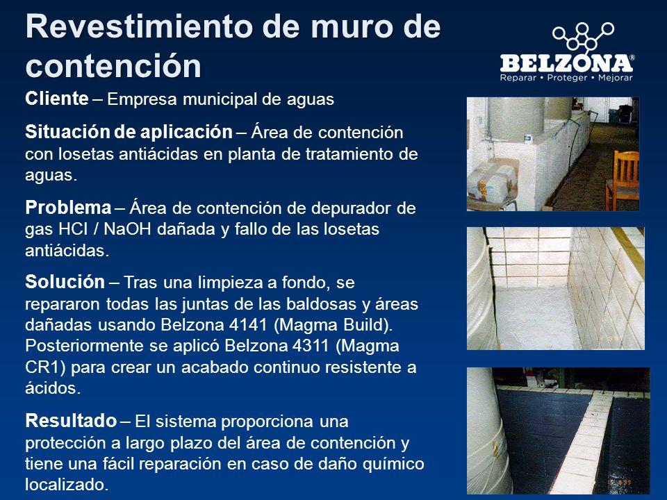 Cliente – Empresa municipal de aguas Situación de aplicación – Área de contención con losetas antiácidas en planta de tratamiento de aguas. Problema –