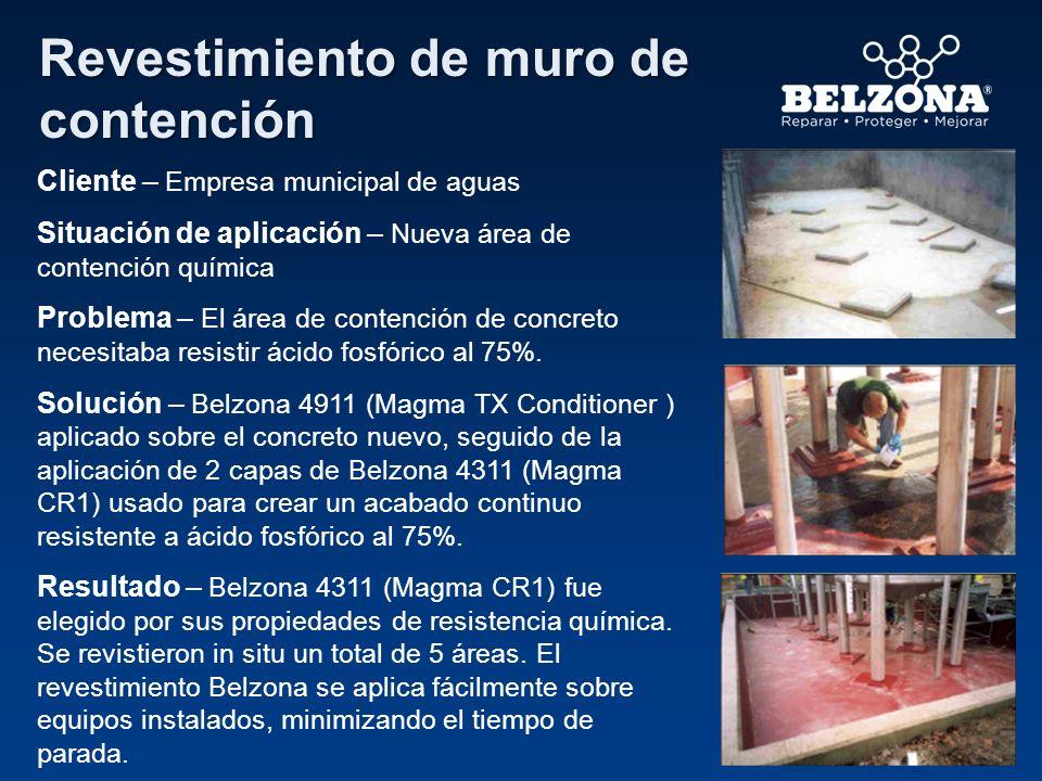 Cliente – Empresa municipal de aguas Situación de aplicación – Nueva área de contención química Problema – El área de contención de concreto necesitab