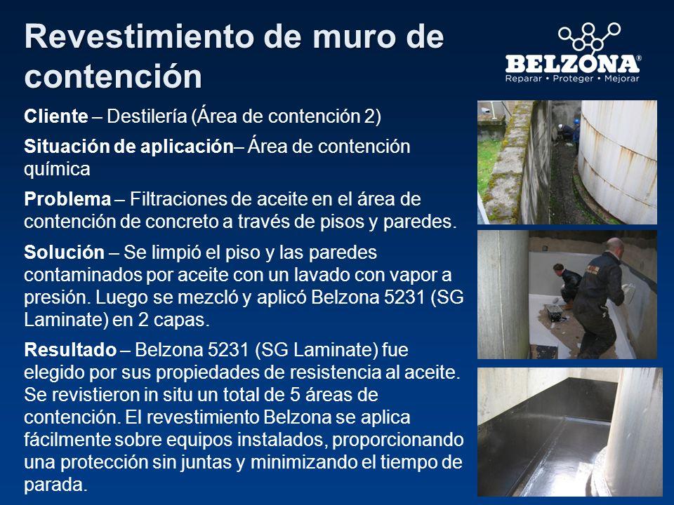 Cliente – Destilería (Área de contención 2) Situación de aplicación– Área de contención química Problema – Filtraciones de aceite en el área de conten