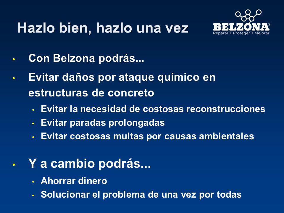 Hazlo bien, hazlo una vez Con Belzona podrás... Evitar daños por ataque químico en estructuras de concreto Evitar la necesidad de costosas reconstrucc