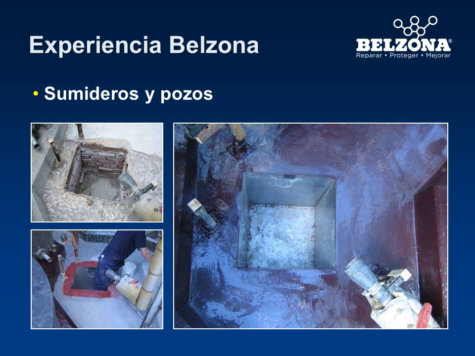Cliente – Destilería (Área de contención 1) Situación de aplicación– Área de contención química Problema – Filtraciones de aceite en el área de contención de concreto a través de pisos y paredes.