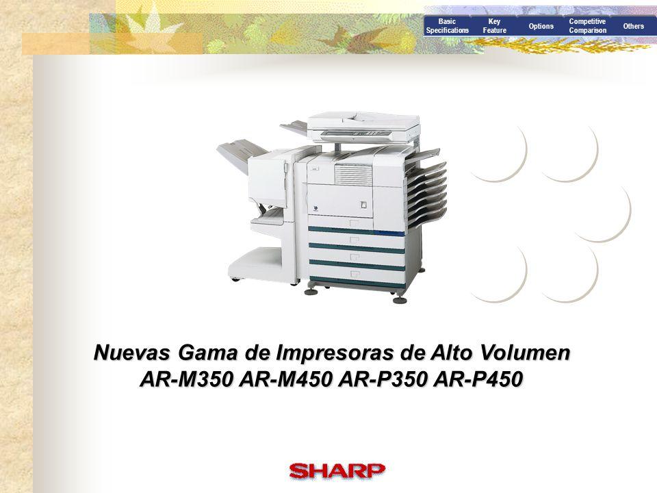 Options Sistemas de Expansión AR-EF1 [ Módulo Escaner/Dual Scan Pass Feeder ] - Resolución de escaneo : 600 x 600 dpi (256 graduaciones) - Velocidad : 45 opm (DSPF), 19 opm (OC) - Capacidad para originales (DSPF) : 50 hojas - Unidad escaner con alimentador de documentos, pantalla y panel - Explora desde la 1ª página del original con entrega cara abajo - Pueden escanearse las dos caras del original al mismo tiempo - Para instalar en los modelos Multifuncionales (AR-M350/M450) AR-RK1 [ Rack Escáner ] -Para instalar en los modelos con versión multifuncionales (AR-M350/M450) AR-M11 [ Placa controladora Multifunción ] Multifunción ] -Cuando se quiere actualizar al modelo Multifuncional, debe cambiarse la placa controladora de impresión a la placa controladora multifunción la placa controladora de impresión a la placa controladora multifunción AR-NC5J [ Tarjeta de Red ] - Nueva Tarjeta de red.