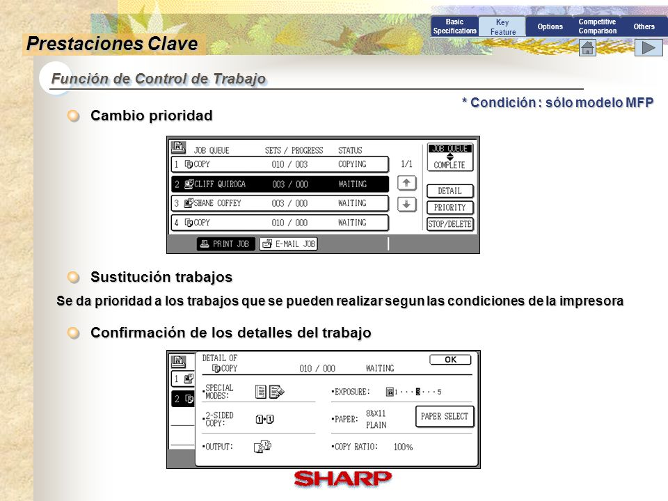 Competitive Comparison Basic Specifications Key Feature OptionsOthers Prestaciones Claves