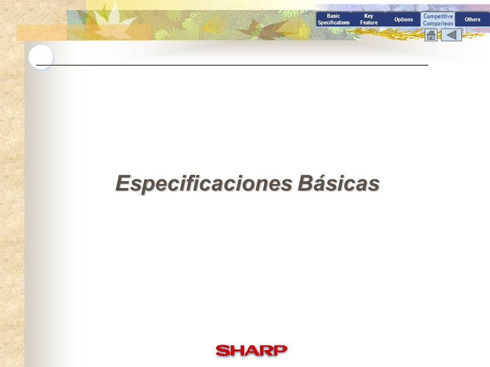 Competitive Comparison Basic Specifications Key Feature OptionsOthers Especificaciones Básicas