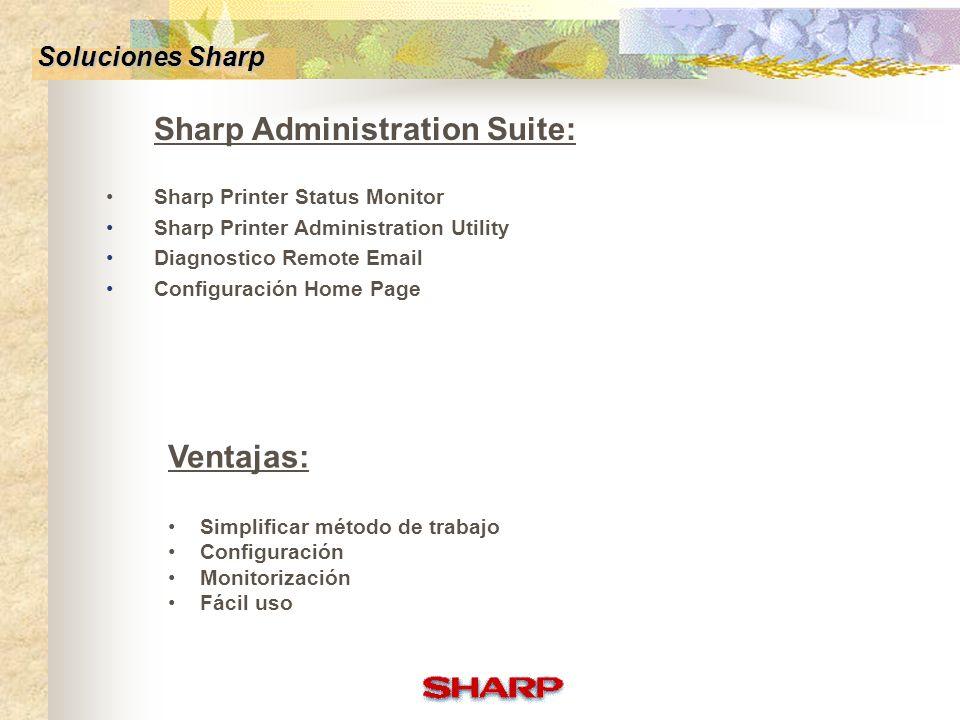 Escaneo en Red Status monitor Configuración Home Page Diagnostico Remote E-mail Printer Administration Utility Alianzas compañias Soluciones Sharp
