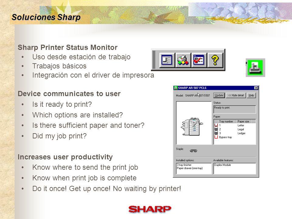 Sharp Administration Suite: Sharp Printer Status Monitor Sharp Printer Administration Utility Diagnostico Remote Email Configuración Home Page Ventaja