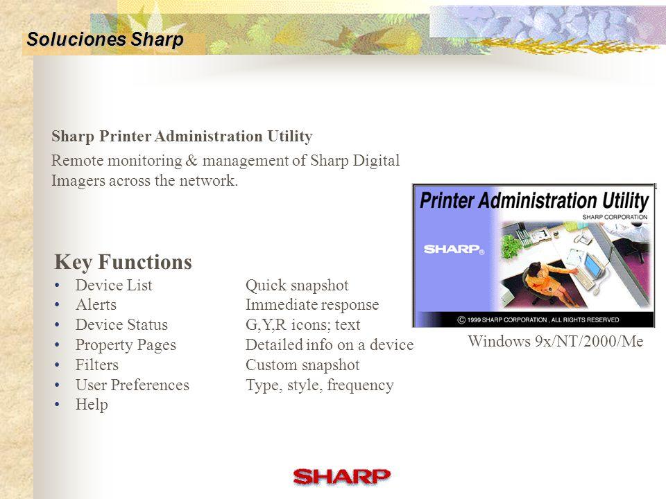 Sharp Printer Status Monitor Uso desde estación de trabajo Trabajos básicos Integración con el driver de impresora Device communicates to user Is it r