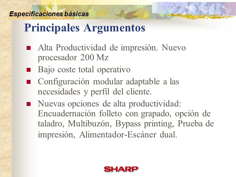 Competitive Comparison Basic Specifications Key Feature OptionsOthers Sharp Vs Competencia