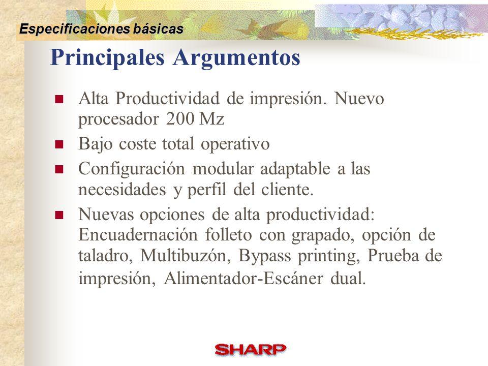 Basic Specifications Options Competitive Comparison Others Especificaciones básicas AR-M350AR-M450AR-P350AR-P450 Sistema Consumible Configuración Espe
