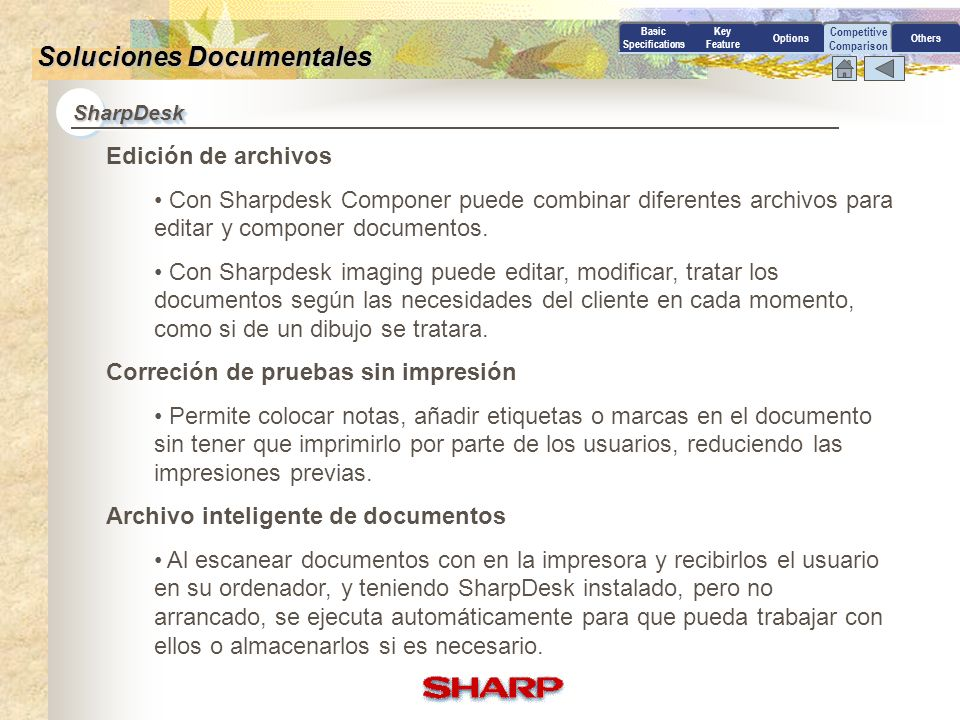 Competitive Comparison Basic Specifications Key Feature OptionsOthers Soluciones Documentales