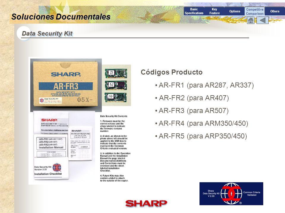 Competitive Comparison Data Security Kit Basic Specifications Key Feature OptionsOthers Soluciones Documentales Impresión de archivos El (EAL2) Sharp Data Security Kit, homologado por Common Criteria, permite copiar, imprimir y escanear de forma segura desde cualquier dispositivo multifunción ARM350, ARM450, AR 407 or AR 507.