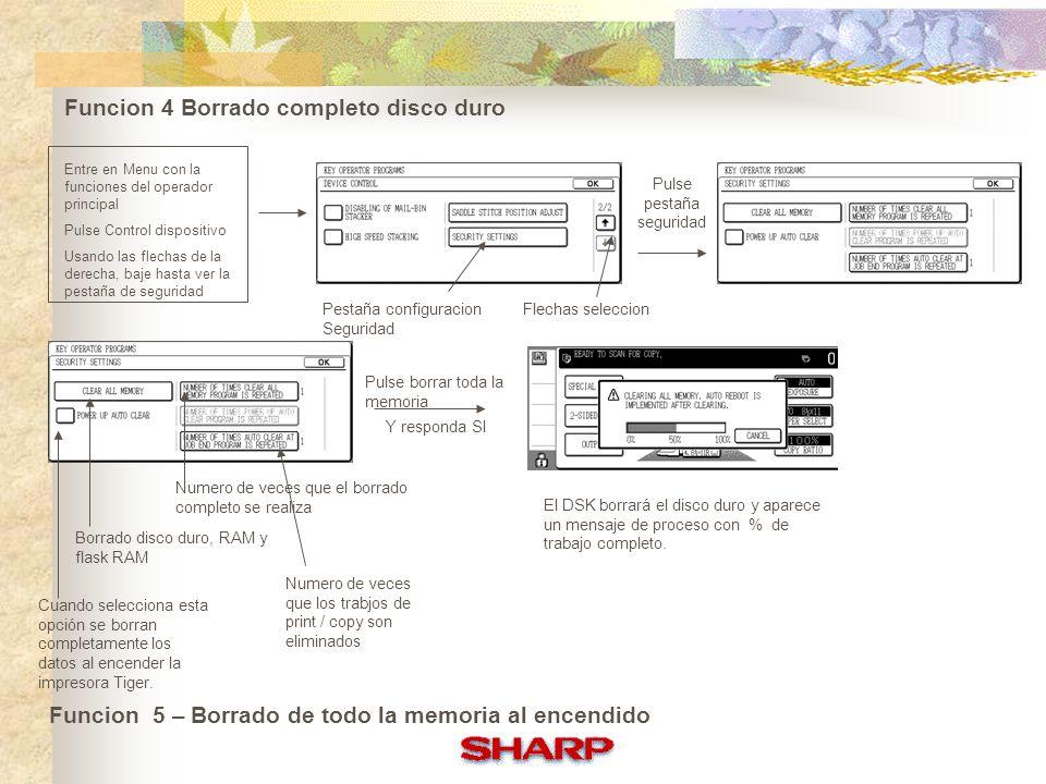 Funciones Básicas DSK Un mensaje aparece con el número de versión Se copia un documento desde el alimentador ADF r Aparece un mensaje en el display informandonos del borrado de los datos DSK siempre está activo desde su instalación.Una imagen aparece en el display para que el usuario pueda verloa Pulse el simbolo Funciones DSK en el Copiado Funciones DSK con impresión Tiger DSK encripta cualquier datos que se escribe en el disco duro.Funciones de confidencialidad o prueba se pueden usar ahora con Tiger DSK Se imprime el documento y seleccione Control de Trabajo Seleccione cola retenida y despues introduce el código de 5 cifras Seleccione la impresión desde la cola retenida de la impresora, entre el pin, seleccione imprimir y borra Los documentos se imprimen y los datos son borrados
