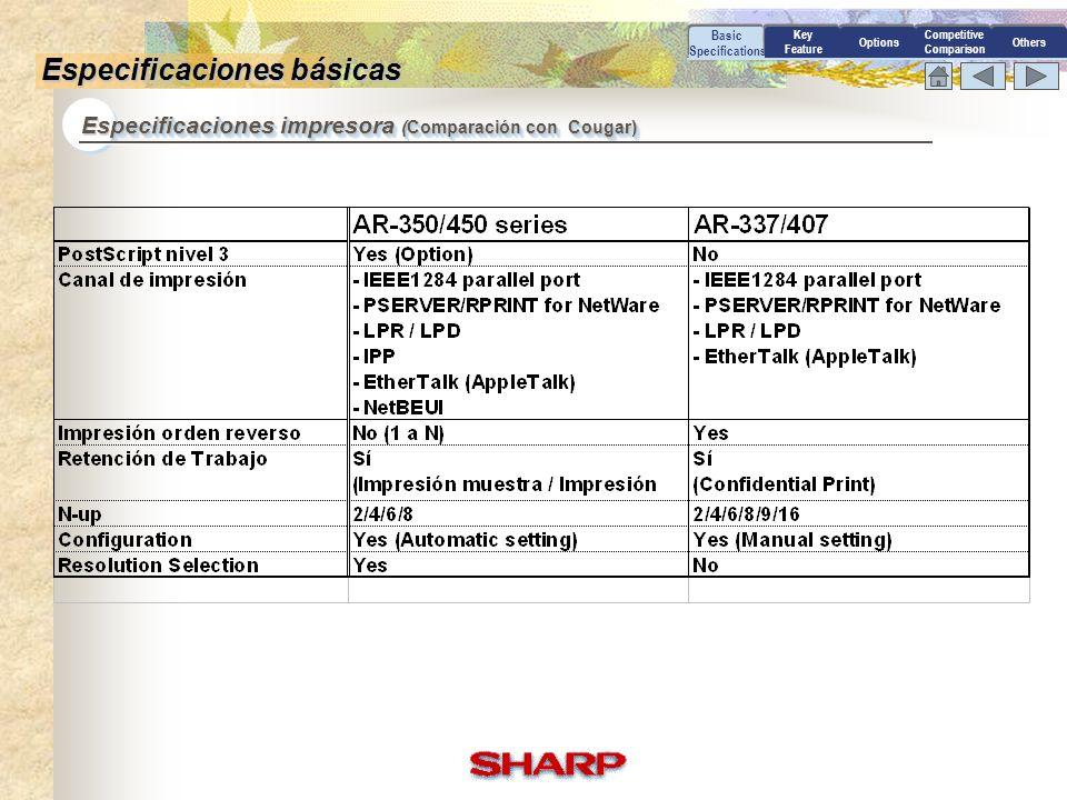 Especificaciones impresora (Comparación con Cougar) Basic Specifications Especificaciones básicas Options Competitive Comparison Others Key Feature