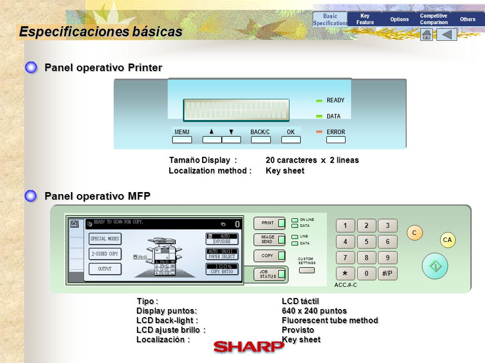 PRINT IMAGE SEND COPY JOB STATUS ON LINE DATA LINE CUSTOM SETTINGS 123 456 789 0 * #/P ACC.#-C C CA READY DATA ERROROKBACK/CMENU Basic Specifications Especificaciones básicas Panel operativo Printer Panel operativo MFP Tamaño Display :20 caracteres 2 líneas Localization method :Key sheet Tipo :LCD táctil Display puntos:640 x 240 puntos LCD back-light :Fluorescent tube method LCD ajuste brillo :Provisto Localización :Key sheet Options Competitive Comparison Others Key Feature