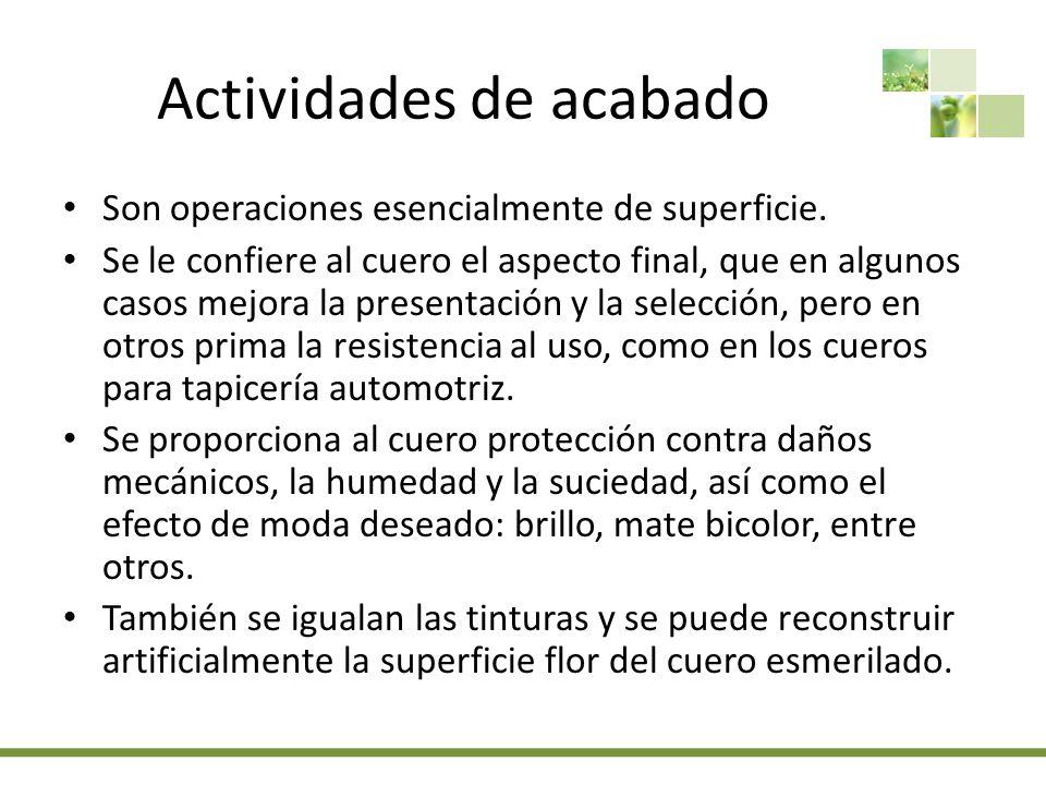Actividades de acabado Son operaciones esencialmente de superficie.