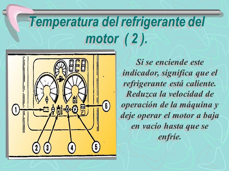 Si el indicador permanece encendido por varios minutos después de operar el motor a baja en vacío, pare el motor.