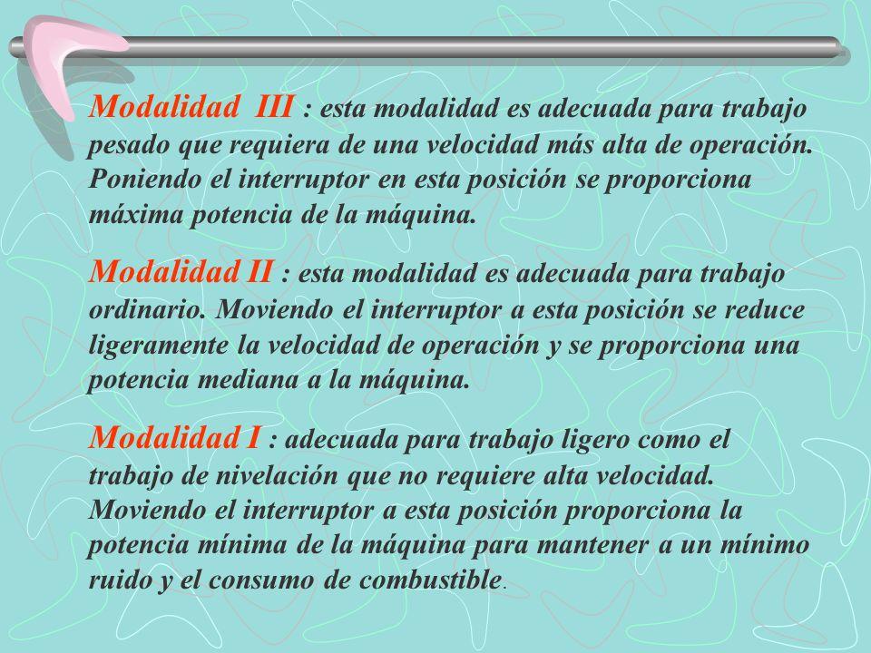 Interruptor de la modalidad de trabajo Selecciona la modalidad de trabajo.