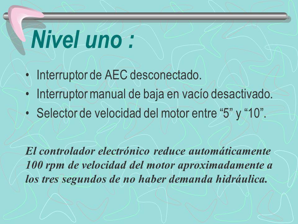 Nivel dos : Interruptor AEC conectado.Interruptor manual de baja en vacío desactivado.
