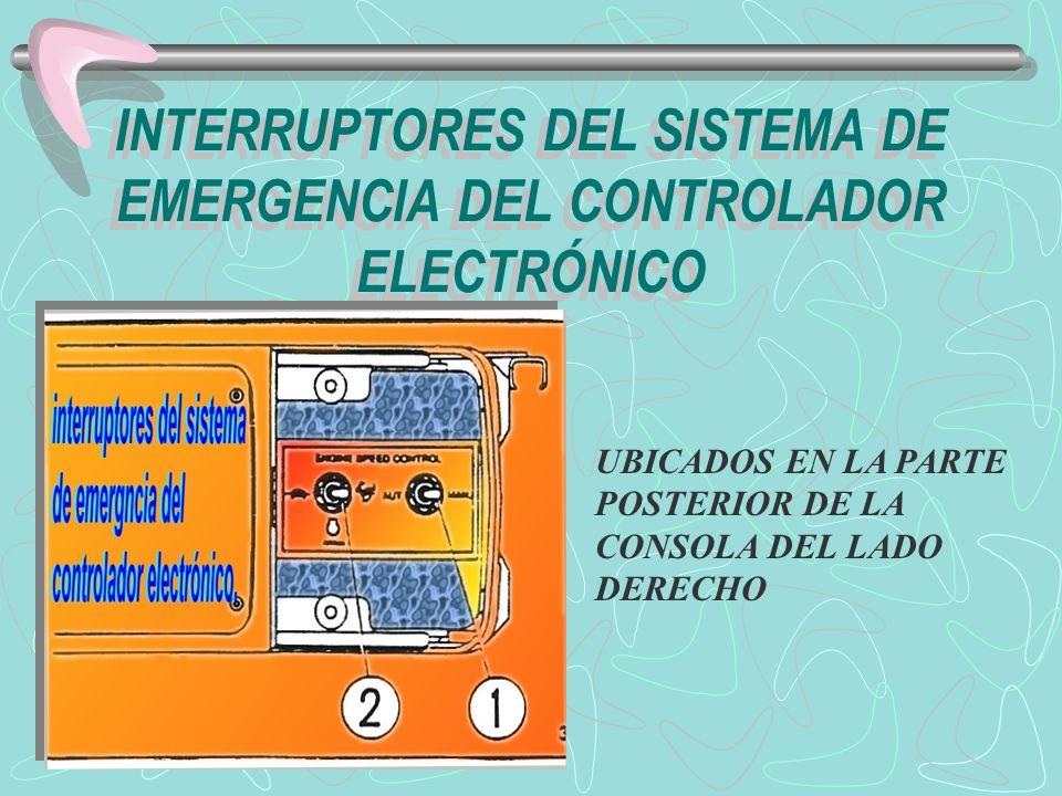 1.- interruptor de emergencia del sistema del control del regulador : para ganar acceso al interruptor, abra la tapa deslizándola hacia atrás.